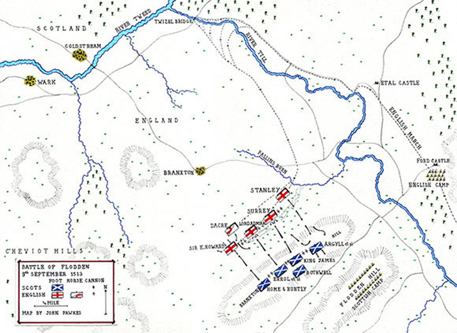 Map of the Battle of Flodden 9th September 1513 by John Fawkes http://www.britishbattles.com/anglo-scottish/battle-flodden.htm