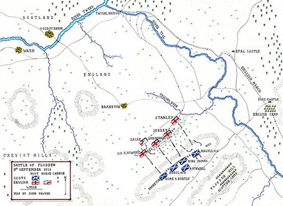 Map of the Battle of Flodden 9th September 1513 by John Fawkes http://www.britishbattles.com/anglo-scottish/battle-flodden.htm