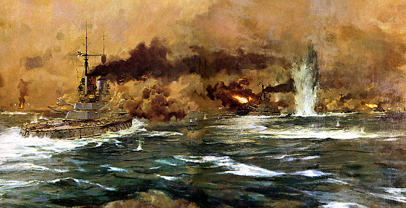 Picture of the Battle of Jutland by the German Wartime Marine Artist Claus Bergen.  The ships in the foreground are German capital ships.  To the left of the picture in the distance HMS Defence can be seen exploding after being repeatedly struck by large calibre German shells.
