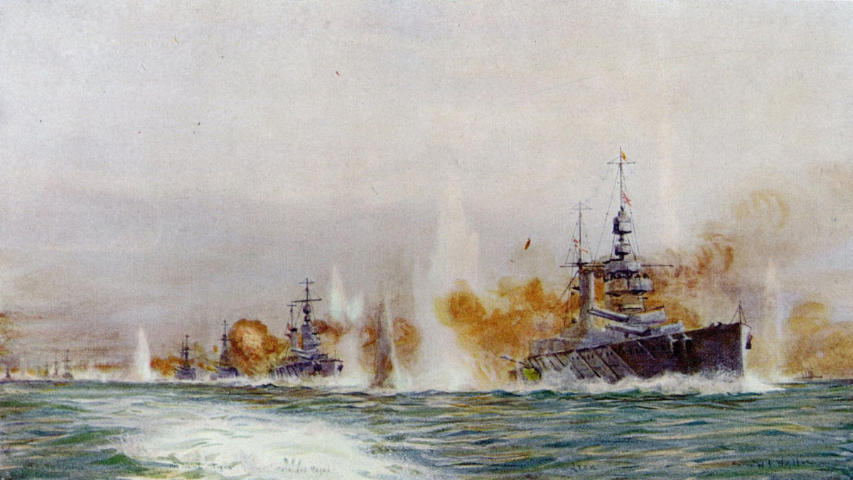 British Battle Cruisers opening fire in the opening stages of the Battle of Jutland on 31st May 1916: from the right HMS Lion Princess Royal Tiger Queen Mary New Zealand and Indefatigable: picture by Lionel Wyllie. Click here to buy this picture
