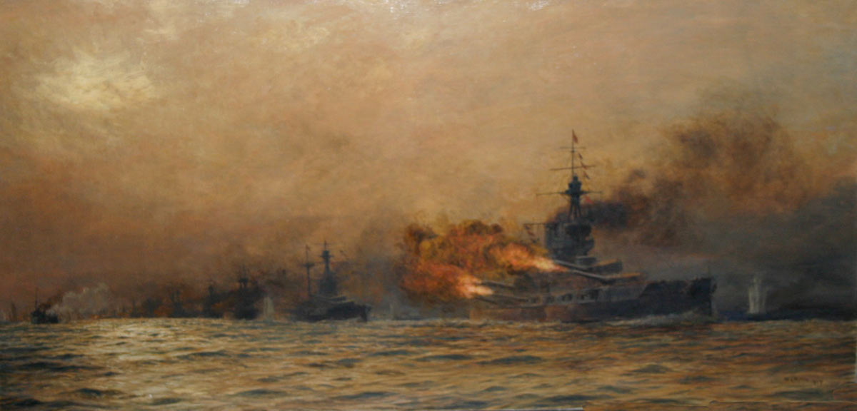 HMS Iron Duke Admiral Jellicoe's Flagship opening fire at approximately 6.15pm on 31st May 1916 at the Battle of Jutland. Iron Duke is followed by other British Battleships. The ship on the extreme left of the picture is the disabled British destroyer HMS Acasta: picture by Lionel Wyllie