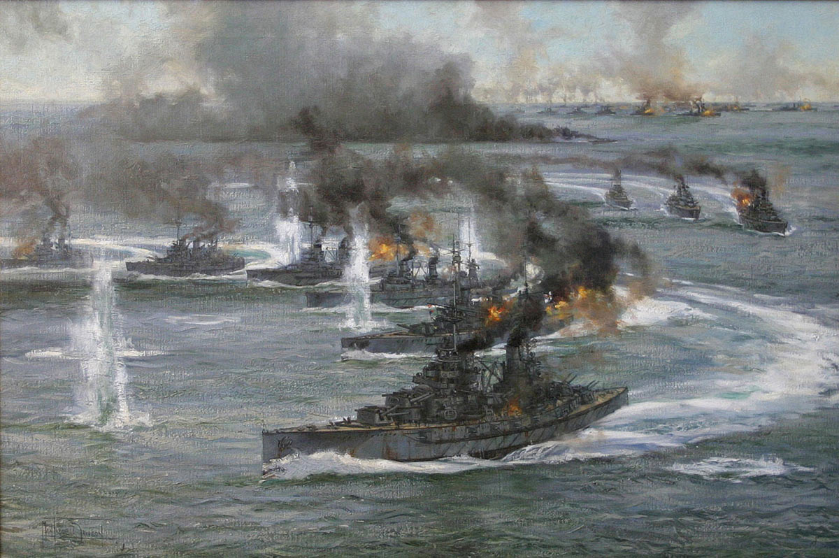 German Battleships turn away on coming under fire from the British Grand Fleet at the Battle of Jutland 31st May 1916