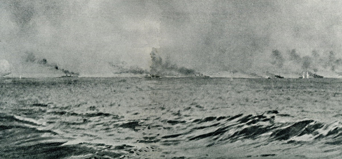 Third of a sequence of photographs of the opening stages of the Battle Cruiser action at the Battle of Jutland 31st May 1916 taken by Paymaster Lieutenant Duckworth from HMS Birmingham. The vertical white clouds are spouts of water put up by exploding heavy calibre shells