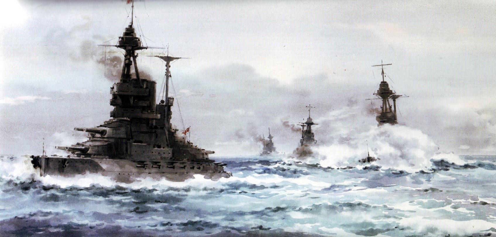British 5th Battle Squadron Vice-Admiral Evan-Thomas's Flagship HMS Barham HMS Valiant HMS Malaya and HMS Warspite all Queen Elizabeth Class Battleships