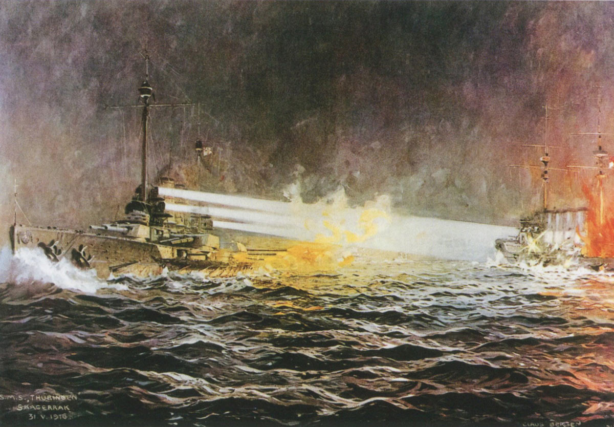 German Battleship SMS Thuringen attacks HMS Black Prince during the night of 31st May 1916 setting her on fire and sinking her: picture by Claus Bergen