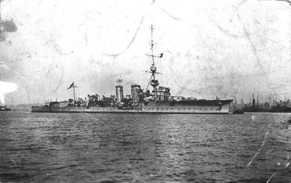 British Light Cruiser HMS Canterbury. Canterbury fought at the Battle of Jutland on 31st May 1916. Canterbury's navigating officer Lieutenant Cuthbert Coppinger was awarded the Distinguished Service Cross. See 'Coppinger of Jutland'
