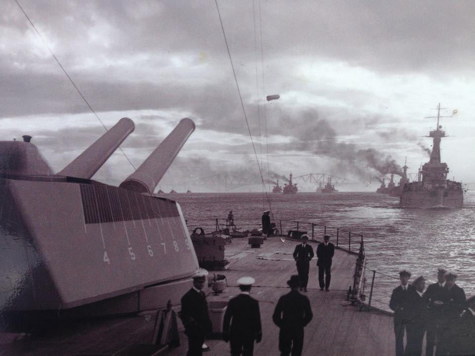Royal Navy's Grand Fleet in the Firth of Forth
