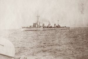 British Flotilla Leader HMS Broke. Broke fought at the Battle of Jutland on 31st May 1916 as a destroyer flotilla leader. She was severely damaged during the night-time torpedo attack on the German battleship line