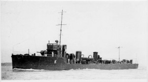 British Destroyer HMS Ardent. Ardent fought at the Battle of Jutland on 31st May 1916 in the 4th Destroyer Flotilla. She took part in one of the night-time torpedo attacks on the German Battleship line and was lost with most of her crew