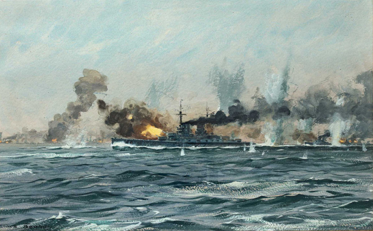 German Battleships open fire in the early stages of the Battle of Jutland 31st May 1916: picture by Claus Bergen