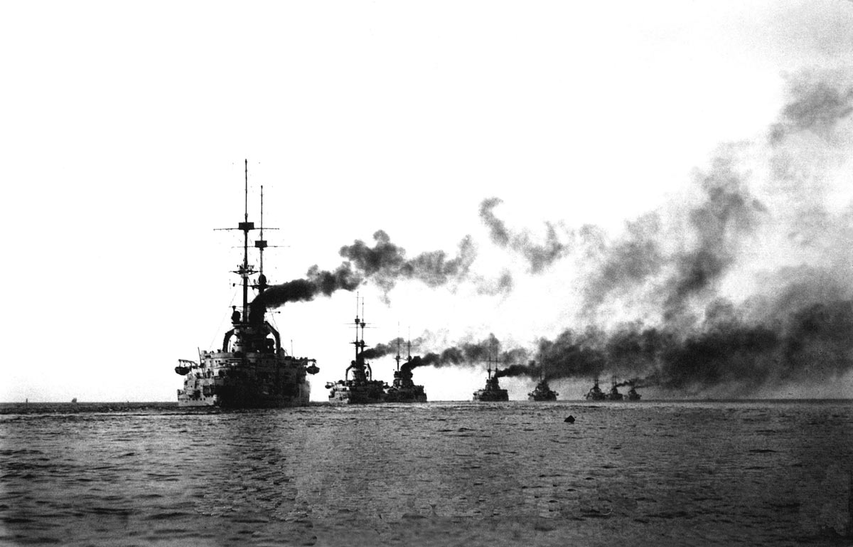 Second Squadron of the German High Seas Fleet comprising pre-Dreadnought Battleships commanded by Rear-Admiral Mauve at the Battle of Jutland on 31st May 1916