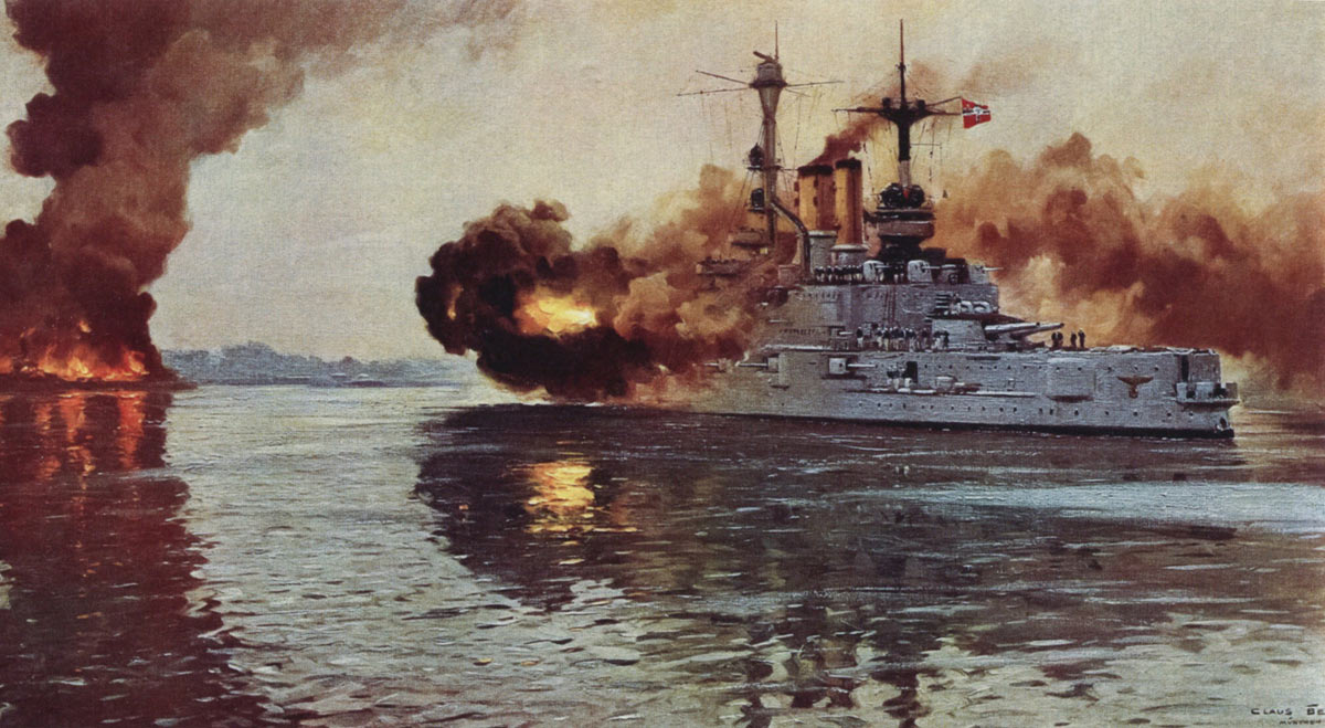 German Battleship SMS Schleswig-Holstein firing the opening shots of the Second World War in 1939 at Danzig. Schleswig-Holstein fought at the Battle of Jutland 31st May 1916: picture by Claus Bergen