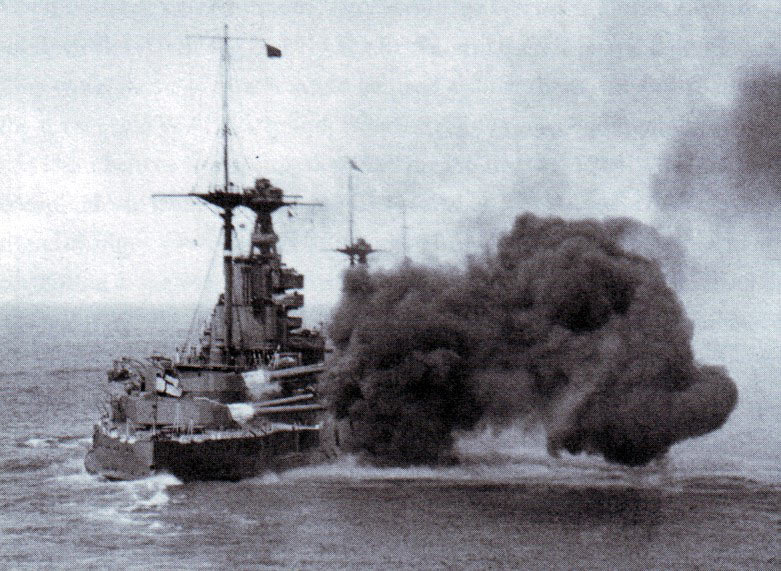 HMS Malaya of the 5th Battle Squadron in action at the Battle of Jutland on 31st May 1916