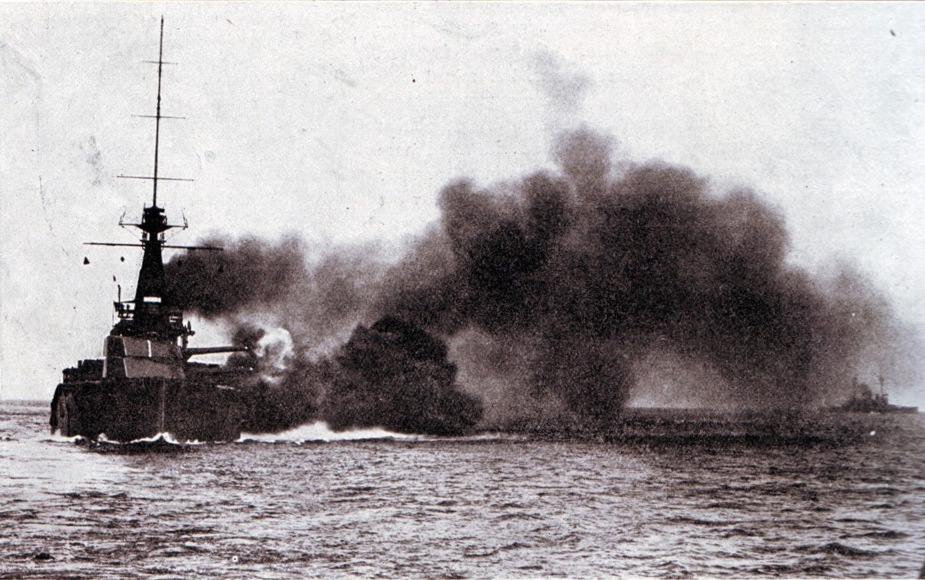 British Battleship HMS Monarch in action at the Battle of Jutland on 31st May 1916