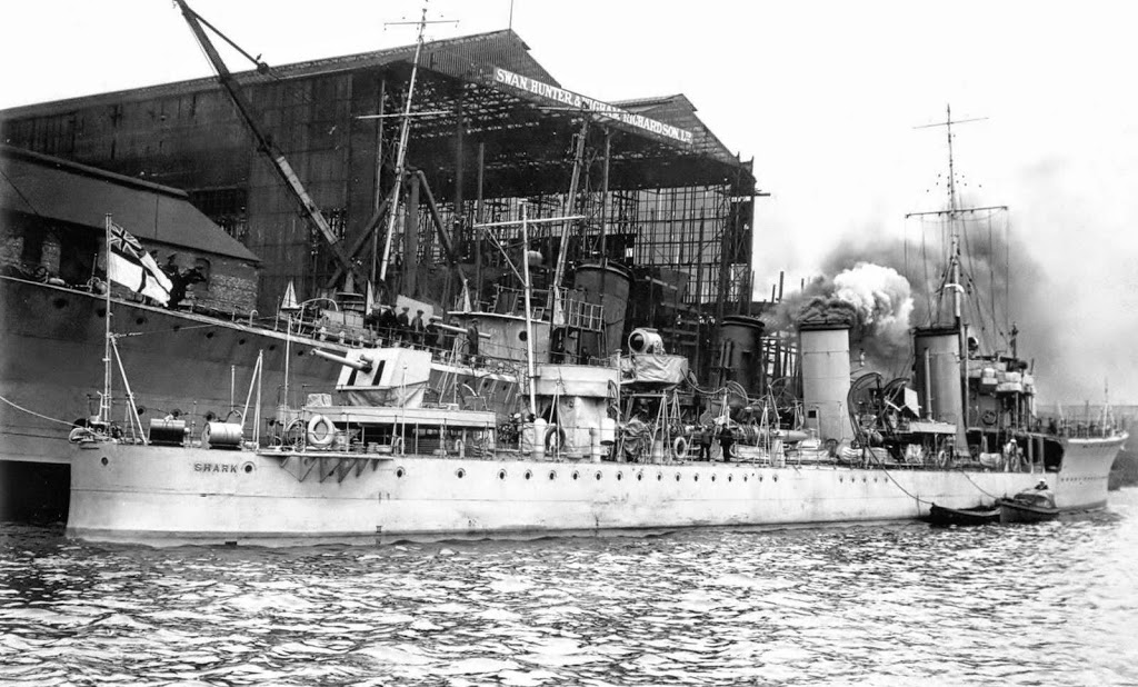 British Destroyer HMS Shark. Shark was sunk at the Battle of Jutland on 31st May 1916 her captain Commander Loftus Jones winning a posthumous Victoria Cross