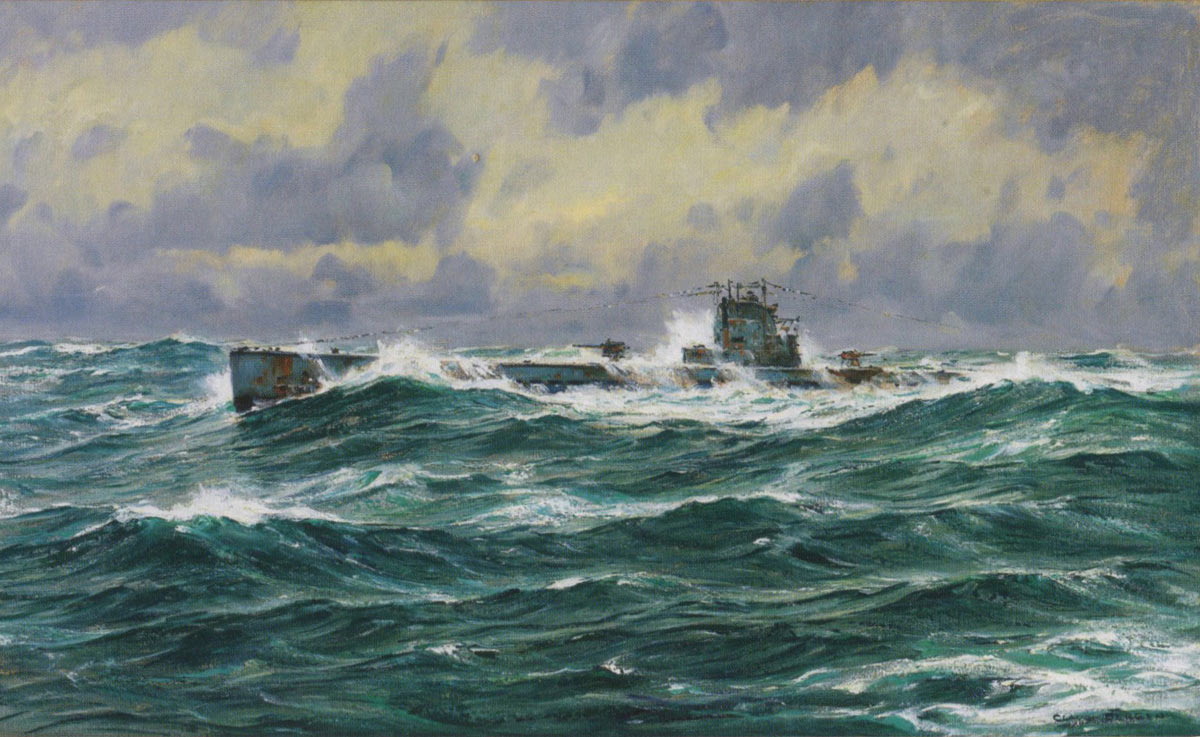 German U Boat at sea in the First World War: picture by Claus Bergen