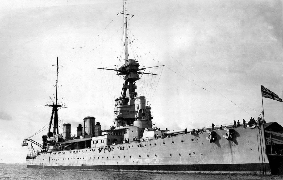 British Battle Cruiser HMS New Zealand. New Zealand fought in the Battle of Jutland on 31st May 1916
