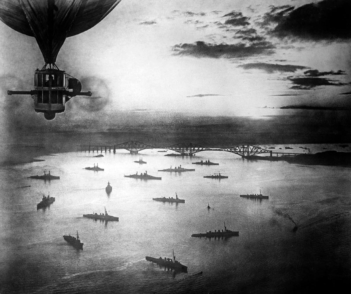 Royal Navy's Grand Fleet at anchor in the Firth of Forth in 1916: photographed from Royal Navy Airship R9