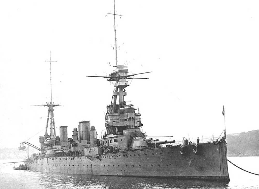 British Battle Cruiser HMS Indefatigable. Indefatigable fought at the Battle of Jutland on 31st May 1916 in Rear Admiral W. C. Pakenham 2nd Battle Cruiser Squadron. Indefatigable blew up and sank early in the battle