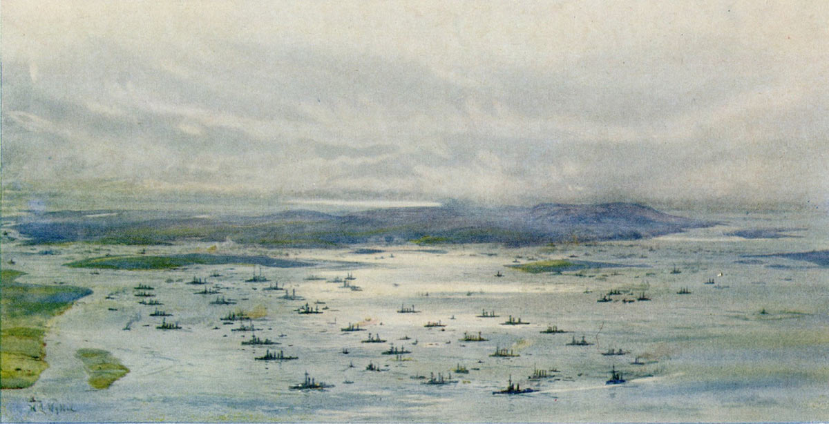 The Royal Navy's Grand Fleet at Scapa Flow in 1916: picture by Lionel Wyllie