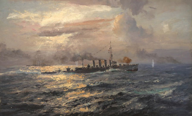 British light cruiser HMS Chester in action at the Battle of Jutland on 31st May 1916
