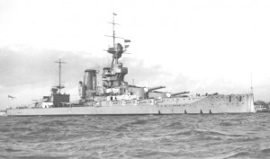 British Battleship HMS Marlborough. Marlborough fought at the Battle of Jutland on 31st May 1916 in Vice Admiral Sir Cecil Burney's 1st Battle Squadron. The ship was severely damaged