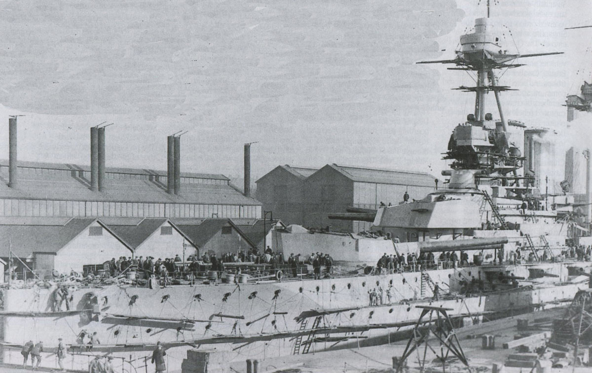 British Queen Elizabeth Class Battleship HMS Warspite under construction in Plymouth in October 1914. Warspite fought at the Battle of Jutland on 31st May 1916 in Rear Admiral H. Evan Thomas's 5th Battle Squadron
