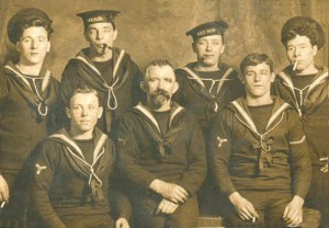 Crew members of British Battle Cruiser HMS Tiger. Tiger fought at the Battle of Jutland 31st May 1916 as part of Admiral Beatty's Battle Cruiser Fleet