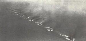 The German Fleet practising the 'Turn Away' on manoeuvres
