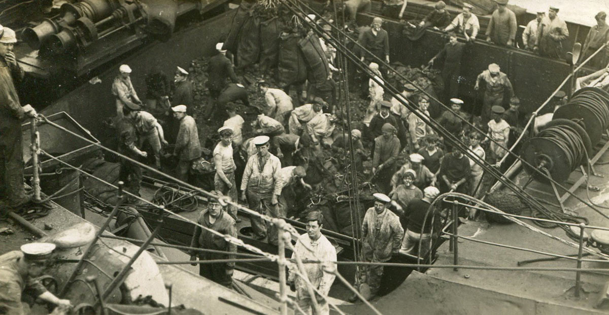Coaling a Royal Navy warship