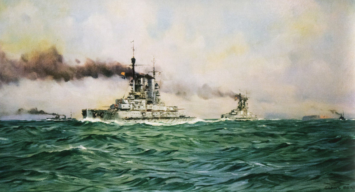 German High Seas Fleet passing Heligoland on 30th May 1916 as it steamed into the North Sea to ambush Admiral Beatty's battle cruisers leading to the Battle of Jutland: picture by Claus Bergen
