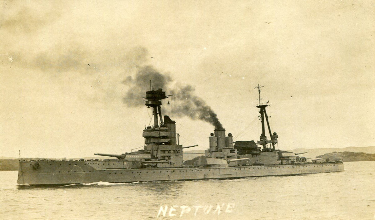 Battleship HMS Neptune 1916. Neptune fought at the Battle of Jutland on 31st May 1916 in Vice Admiral Burney's First Battle Squadron