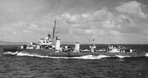 British Flotilla leader HMS Faulknor. Faulknor fought at the Battle of Jutland 31st May 1916 leading the 12th Flotilla