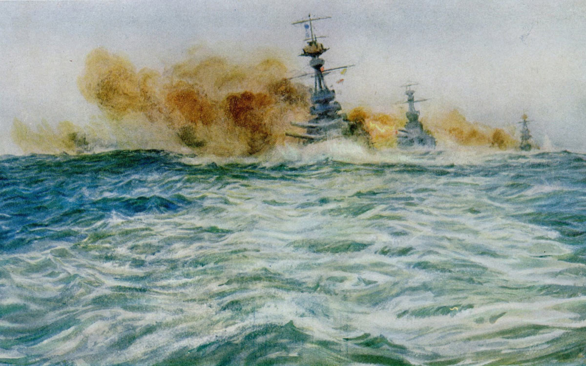 British Battleships at target practice in 1916: picture by Lionel Wyllie