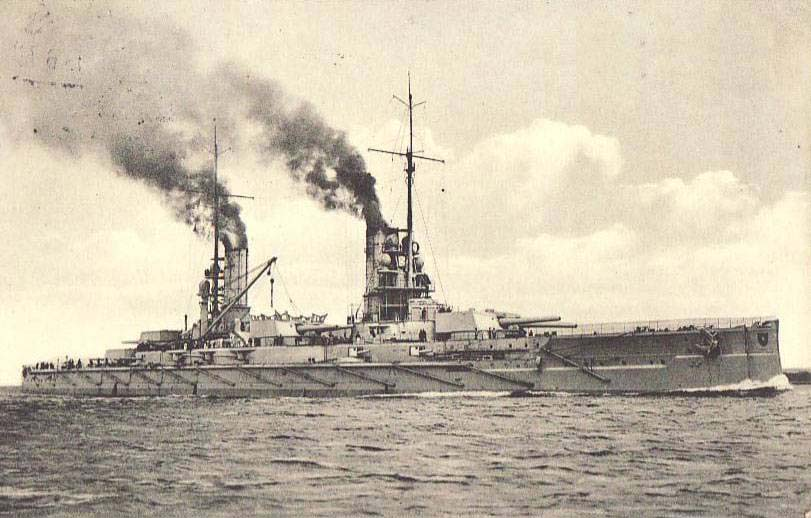 German Battleship SMS Kaiser. Kaiser fought in the 3rd Battle Squadron at the Battle of Jutland 31st May 1916