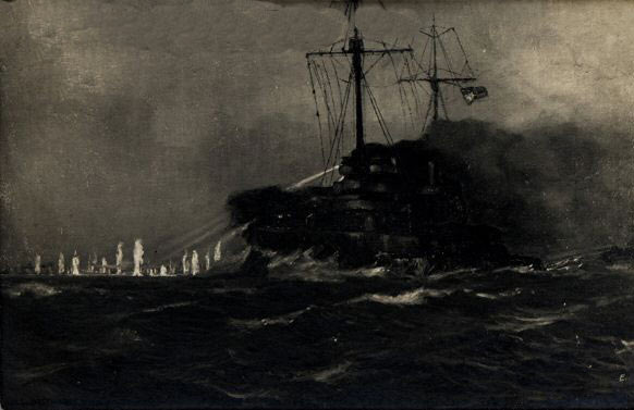 German Battleship SMS Westfalen firing on British Destroyers during the night action of the Battle of Jutland 31st May 1916