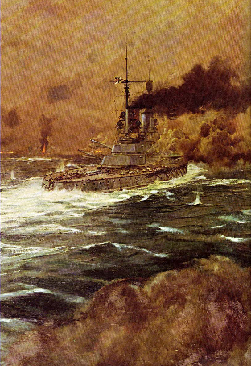 German Battleships in action during the night of 31st May 1916 Battle of Jutland