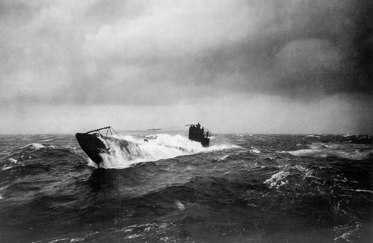 German U Boat at sea in the First World War