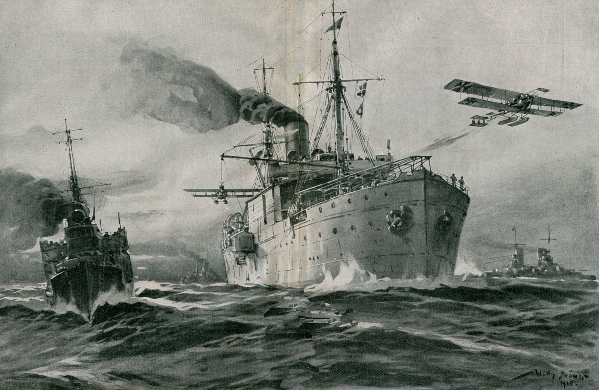 German seaplane carrier launching aircraft in the First World War