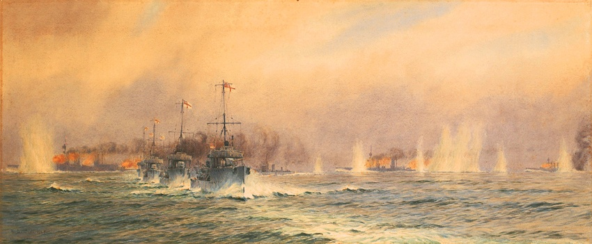British destroyers begin their attack as HMS Queen Mary blows up at 4.26pm during the Battle of Jutland 31st May 1916