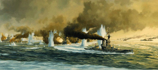 The German Battle Fleet carries out the 'Battle Turn Away' to escape from the British Grand Fleet at the Battle of Jutland 31st May 1916