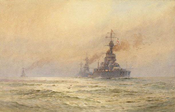 British Battleship HMS King George V with other battleships. King George V fought in Admiral Jerram's 2nd Battle Squadron at the Battle of Jutland on 31st May 1916