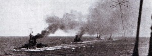 British 4th Battle Squadron at sea: The squadron was led by Admiral Jellicoe's flagship HMS Iron Duke at the Battle of Jutland on 31st May 1916