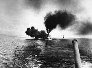 German Battleship SMS Schleswig-Holstein fires a salvo at the Battle of Jutland 31st May 1916