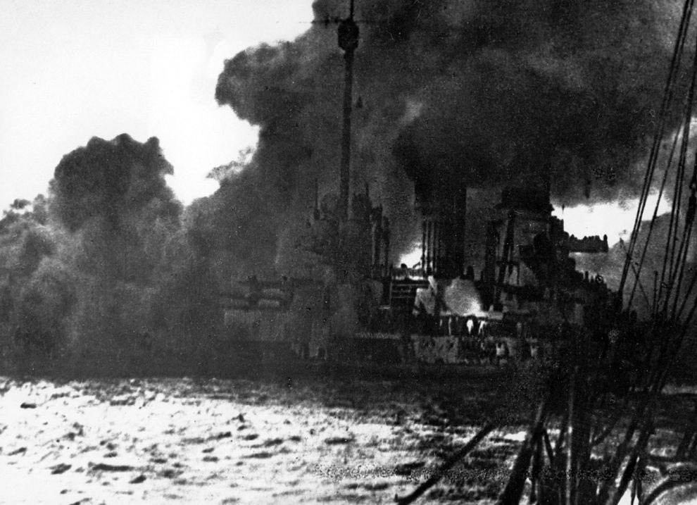 German Battle Cruiser SMS Seydlitz burning during the Battle of Jutland 31st May 1916. : to buy this picture click here