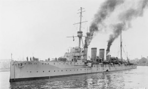 British Light Cruiser HMS Gloucester. Gloucester fought at the Battle of Jutland 31st May 1916 in Admiral Napier's 3rd Light Cruiser Squadron