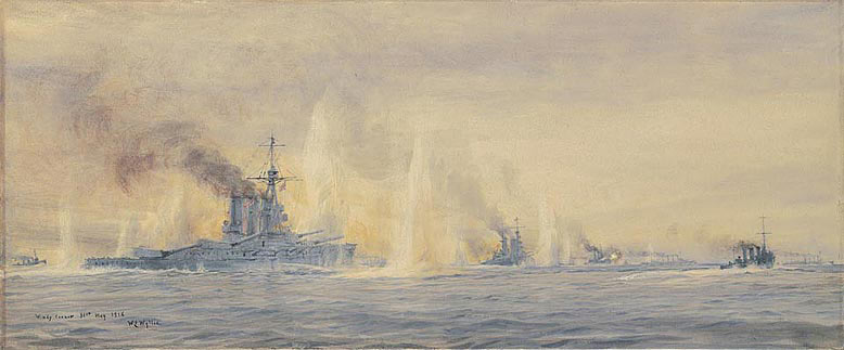 HMS Tiger and other British Battle Cruisers at 'Windy Corner' in the Battle of Jutland 31st May 1916