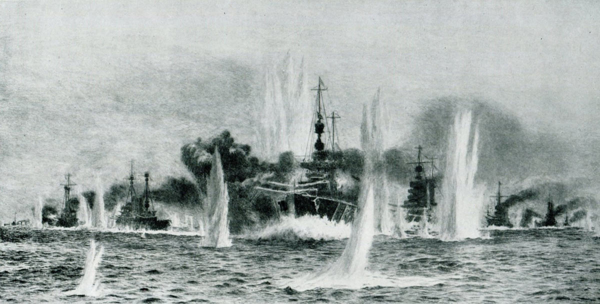 Admiral Beatty's British Battle Cruisers in action at the Battle of Jutland on 31st May 1916