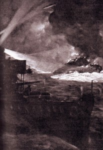 HMS Ardent sinking during the night action of the Battle of Jutland 31st May 1916