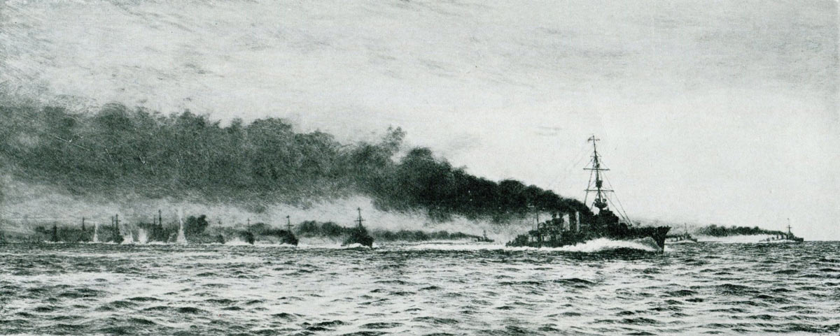 British Light Cruiser HMS Champion and 13th Destroyer Flotilla ahead of the Battle Cruisers at the beginning of the Battle of Jutland 31st May 1916: picture by Lionel Wyllie